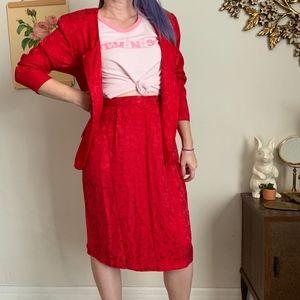 Vintage Silk Pat Argent Blazer and Skirt Suit Set